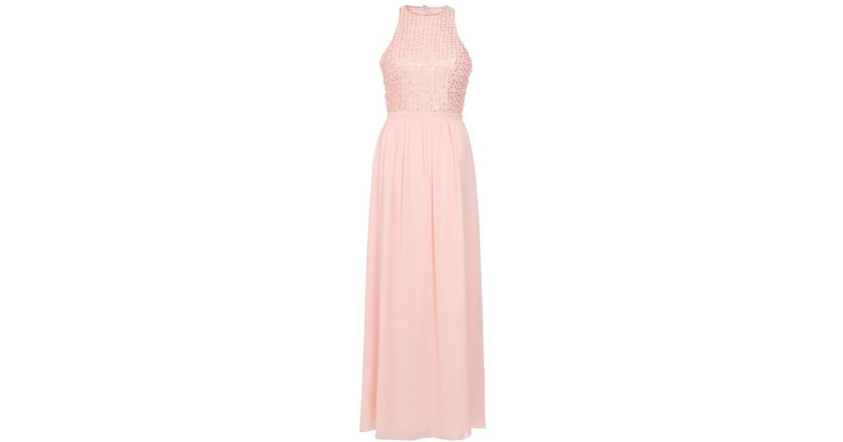 Lyst - Quiz Peach Chiffon Pearl High Neck Maxi Dress in Pink