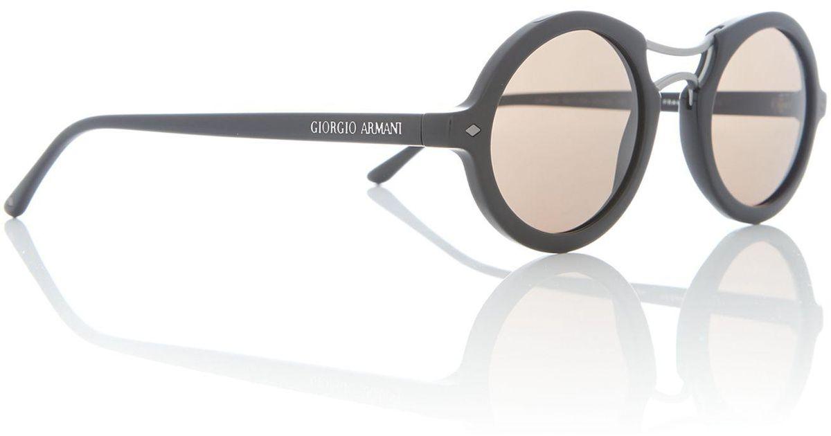 0baba0c0265f Giorgio Armani Black Round Ar8072 Sunglasses in Black - Save 21% - Lyst