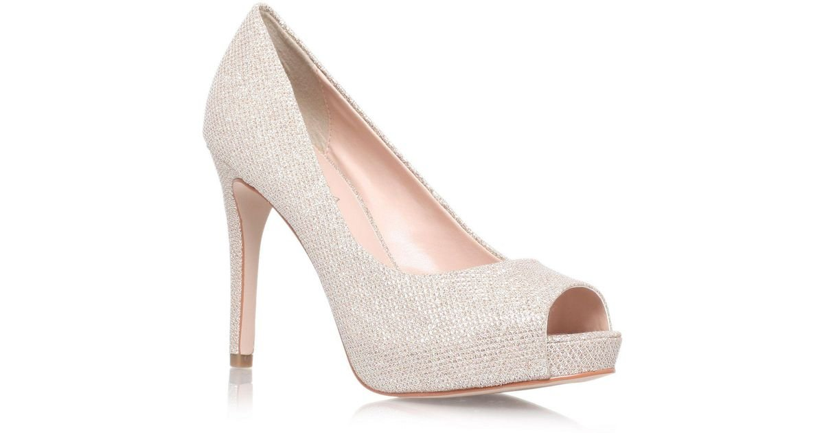 Lyst Carvela Kurt Geiger Lara High Heel P Toe Court Shoes In Metallic Save 52