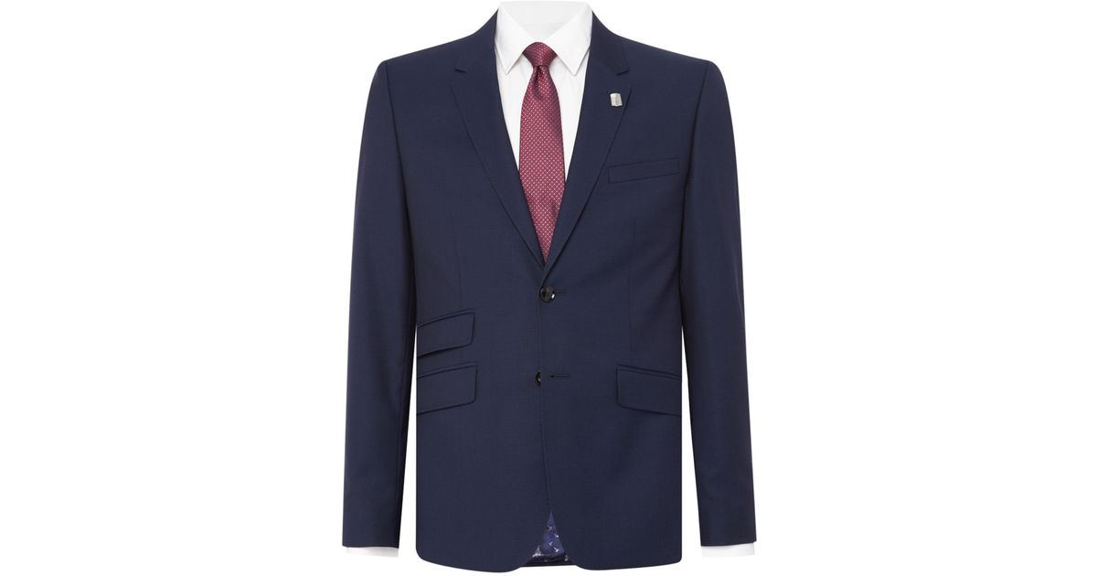 35dcc68f7 Ted Baker Single Breasted Kimodo Tonal Texture Suit Jacket in Blue for Men  - Lyst