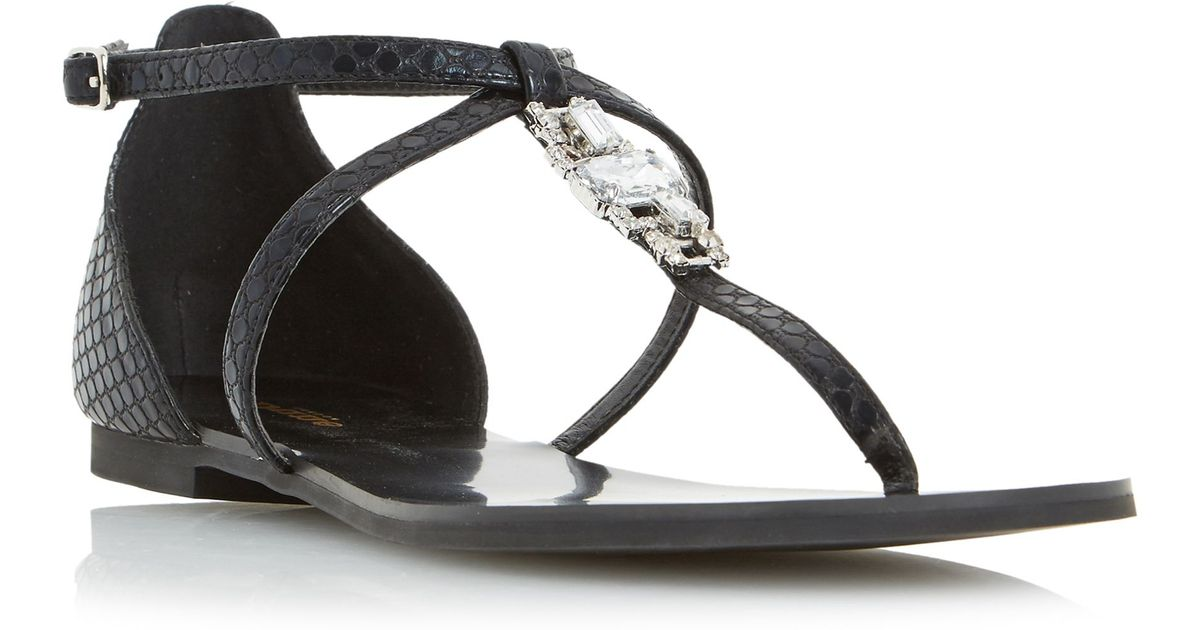 120245aef2cf7 Lyst - Dune Nayla Jewelled Toe Post Flat Sandals in Black