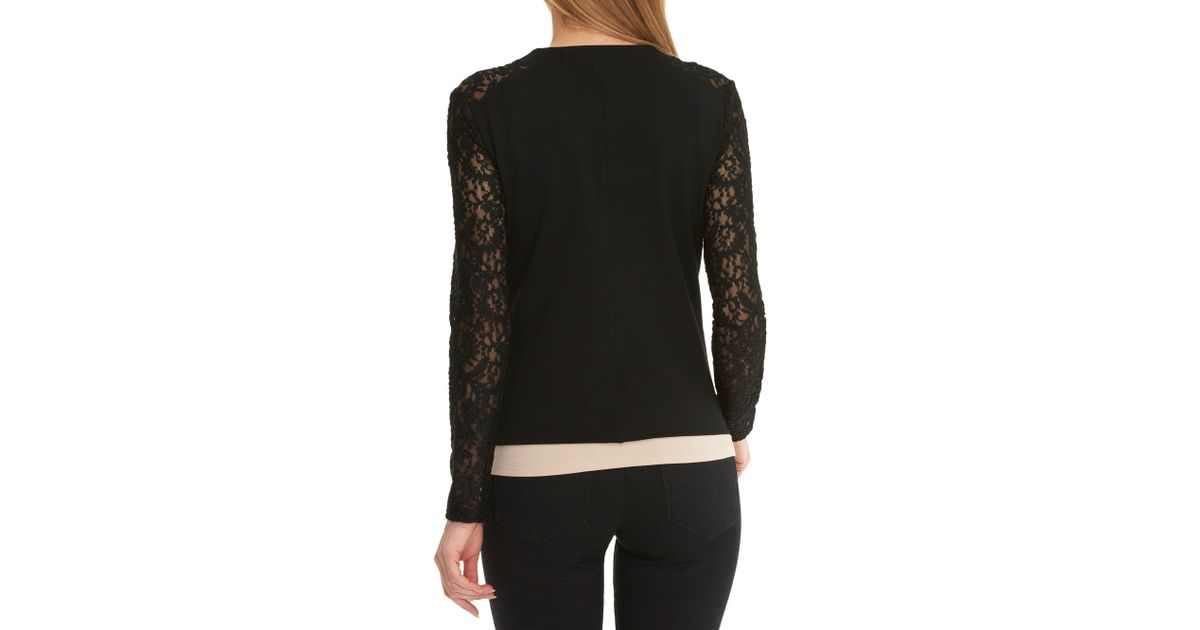 betty barclay jacket with lace sleeves in black lyst. Black Bedroom Furniture Sets. Home Design Ideas