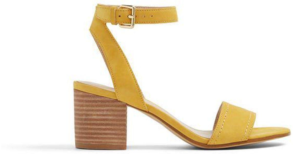 61af07a9070 Aldo Lolla Low Block Heel Sandal in Yellow - Lyst