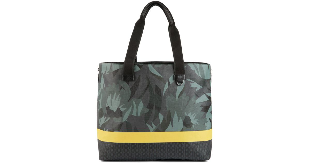 416ba426241 BOSS Tote Bag In Floral-printed Italian Fabric With Stripe in Black for Men  - Lyst