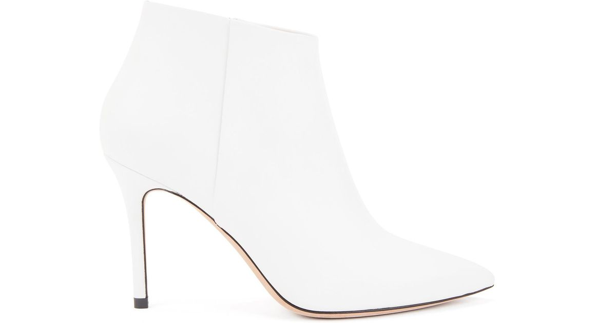 Lyst Boss High Heeled Ankle Boots In Italian Calf Leather In White