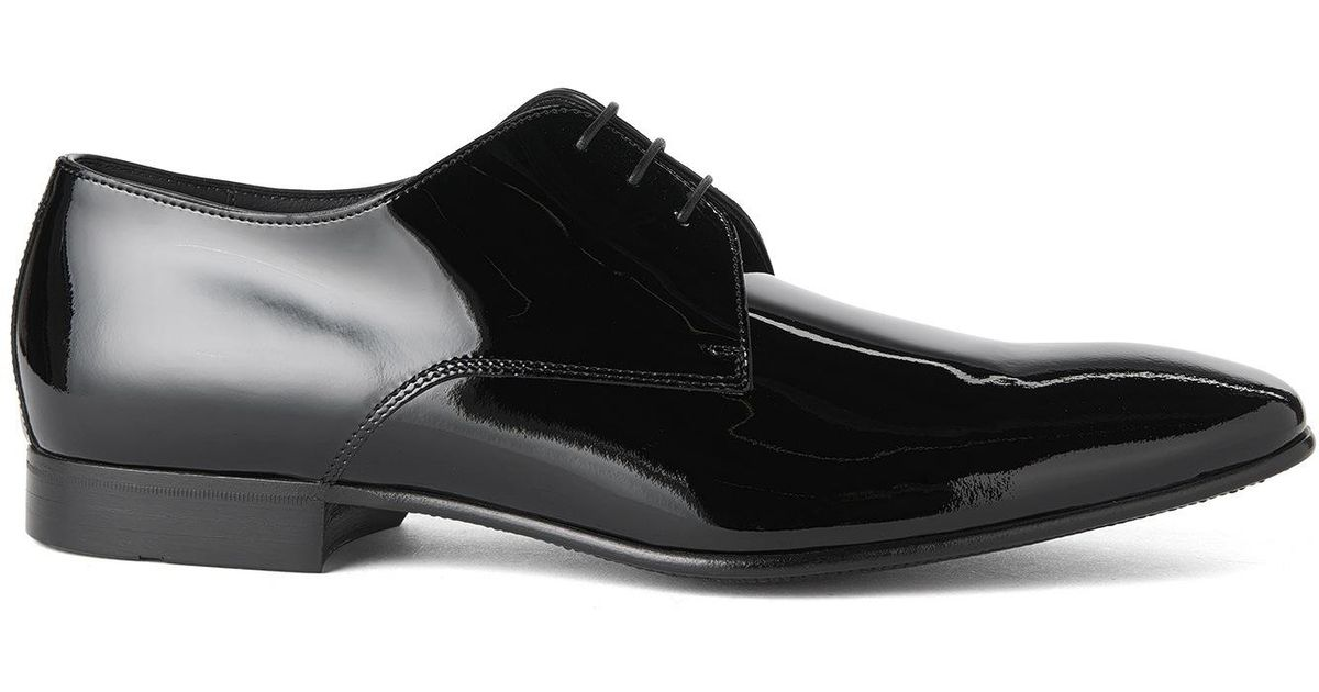 efca11c66 BOSS Patent-leather Lace-up Shoes: 'cristallo' in Black for Men - Lyst