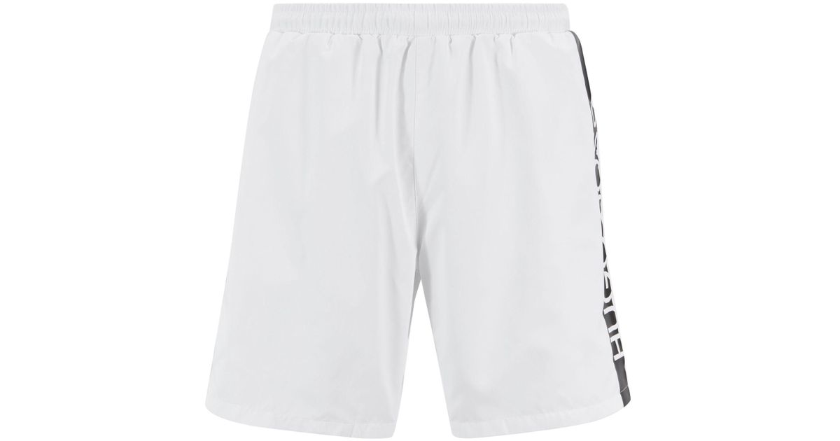 d2ba42ae5 Boss Medium-length Swim Shorts With Heat-sealed Logo Print in Natural for  Men - Lyst