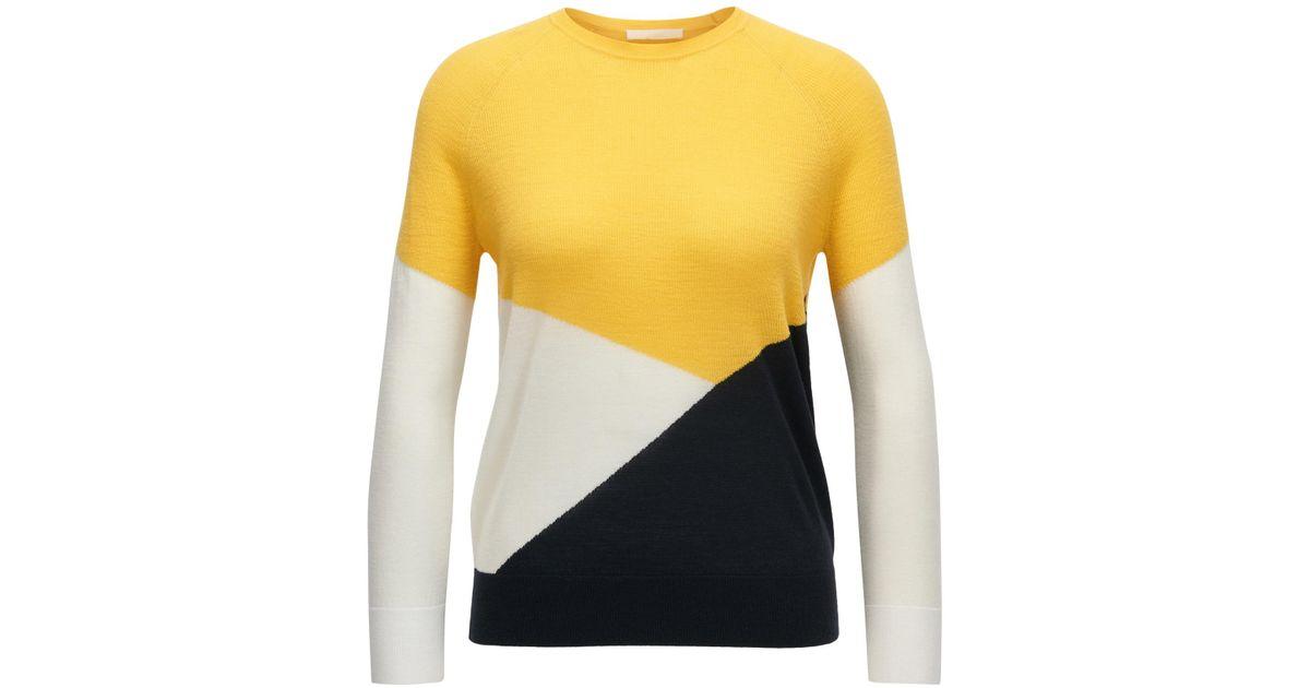 20d42a3fe BOSS Colour-block Sweater In Mercerised Merino Wool - Lyst