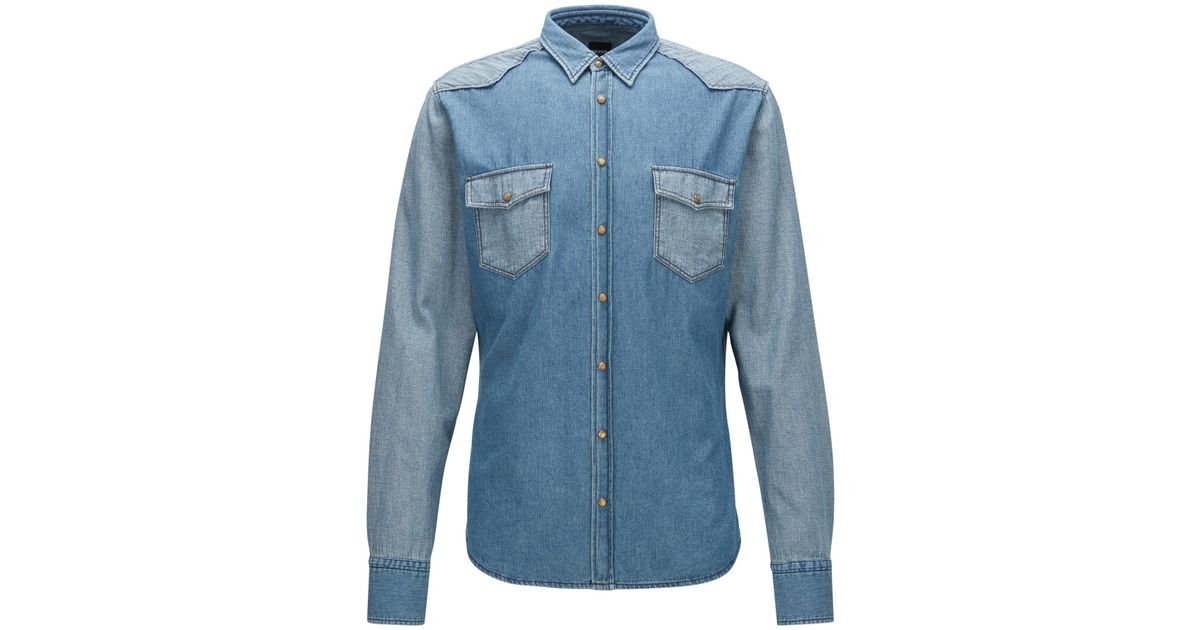 01434d76 BOSS Cotton Button Down Western Shirt, Slim Fit | Erodeo in Blue for Men -  Lyst