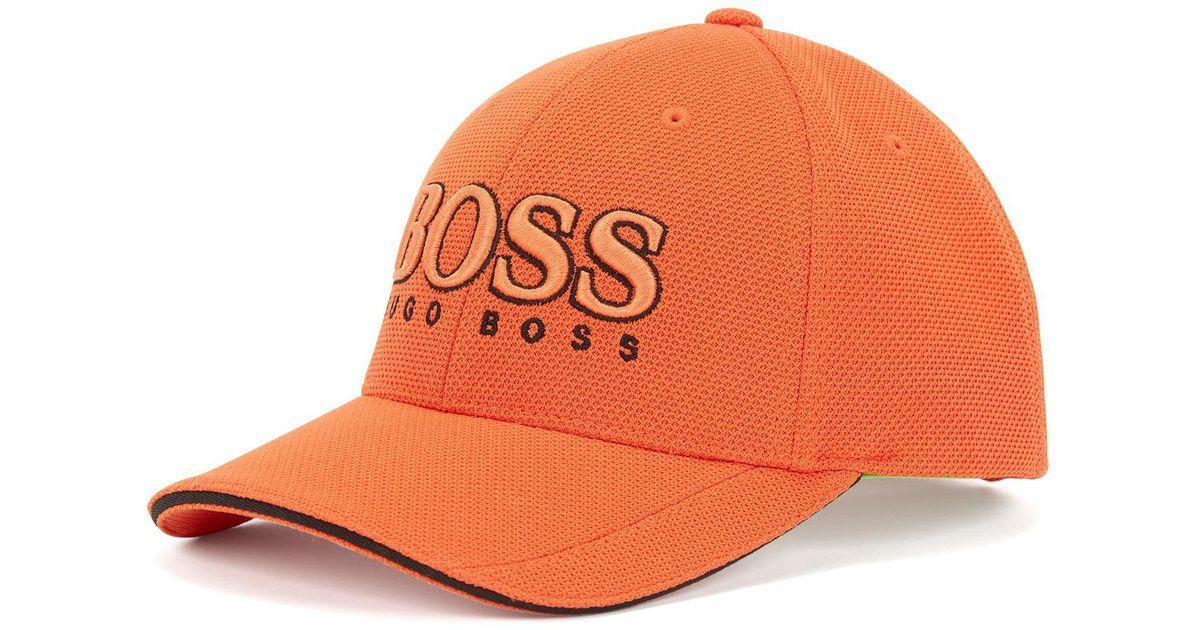 34074f35 BOSS Baseball Cap In Technical Piqué in Orange for Men - Lyst