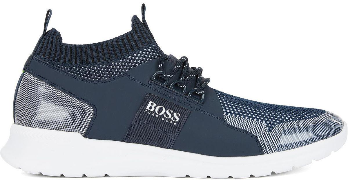 09759f23dee880 Lyst - BOSS Navy Extreme Runn Knit Trainers in Blue for Men
