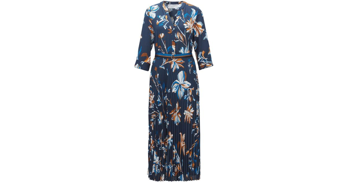 dddaf0588 BOSS Floral-print Belted Dress With Plissé Pleated Skirt in Blue - Lyst