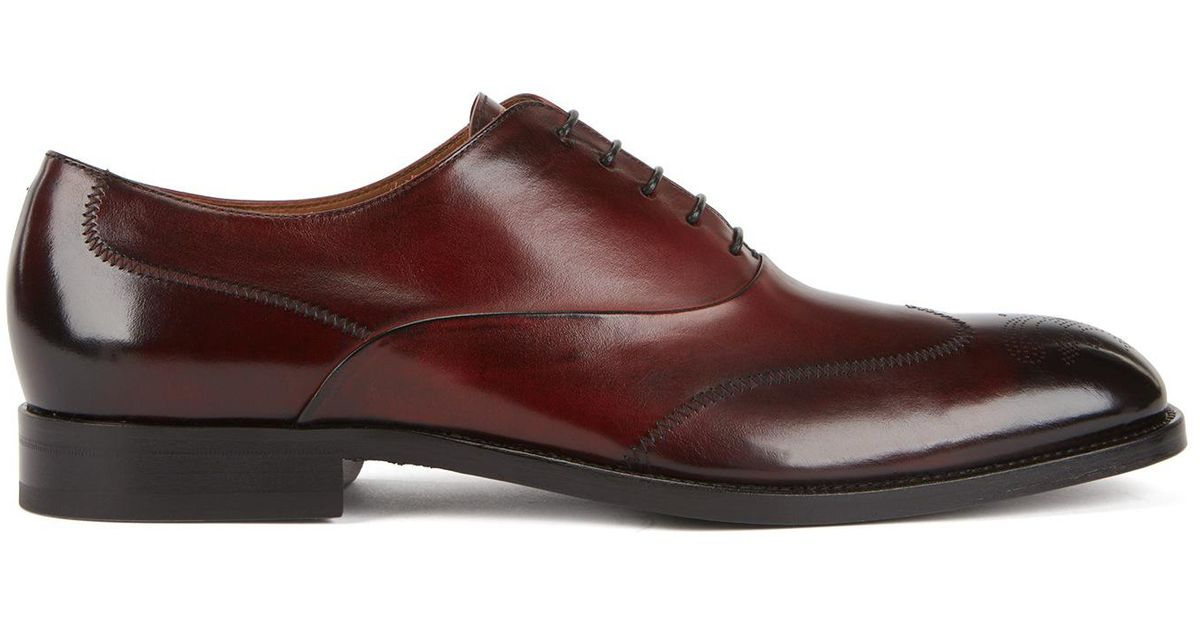 Laser-cut Derby shoes in burnished leather with brogue detailing BOSS wWyrpeSz