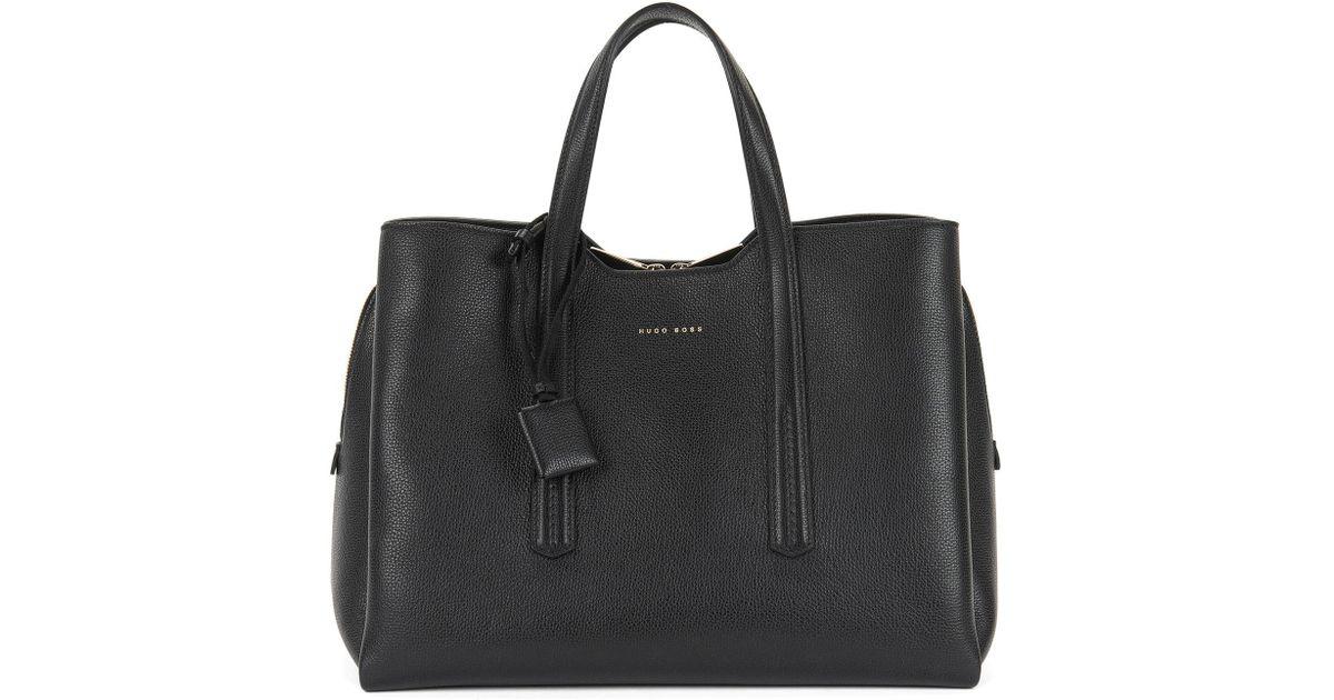 Taylor Shopper Bag in Black Grainy Calfskin HUGO BOSS kIeSdlZY