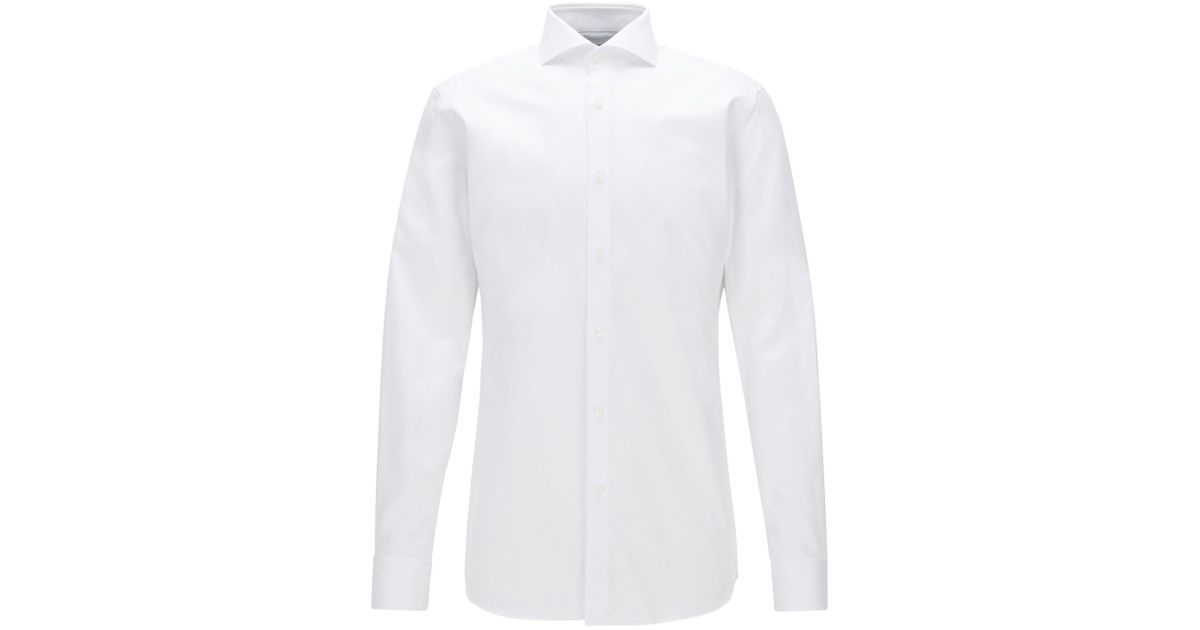 59081880e BOSS Tonal Check Cotton Dress Shirt, Slim Fit | T-yacob in White for Men -  Lyst