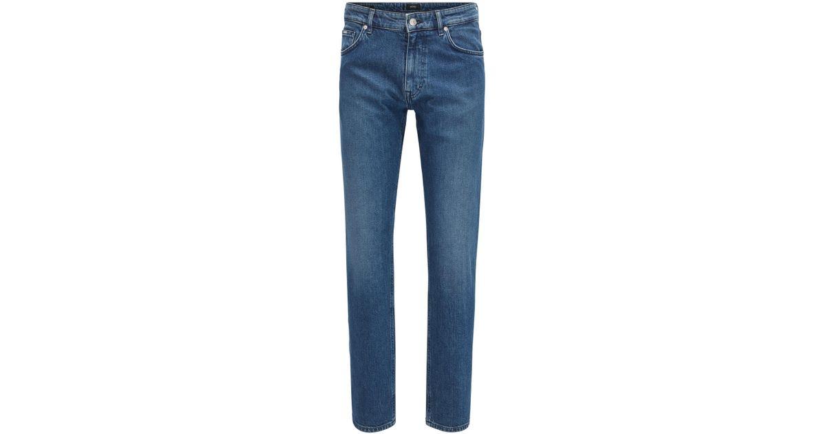 Relaxed-fit dark-blue jeans in Italian denim BOSS eDFInw6Puz