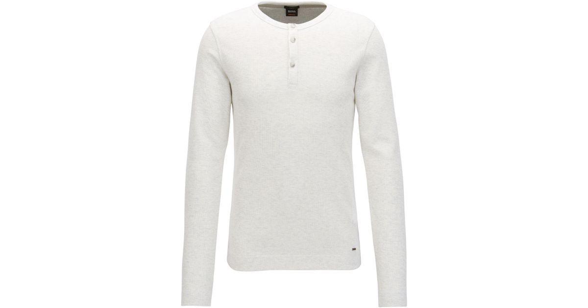 0bfce6941 BOSS Slim-fit Henley T-shirt In Heathered Cotton in Natural for Men - Lyst