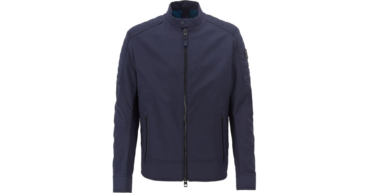 b6678767fc BOSS Regular-fit Biker Jacket In Water-repellent Peached Fabric in Blue for  Men - Lyst
