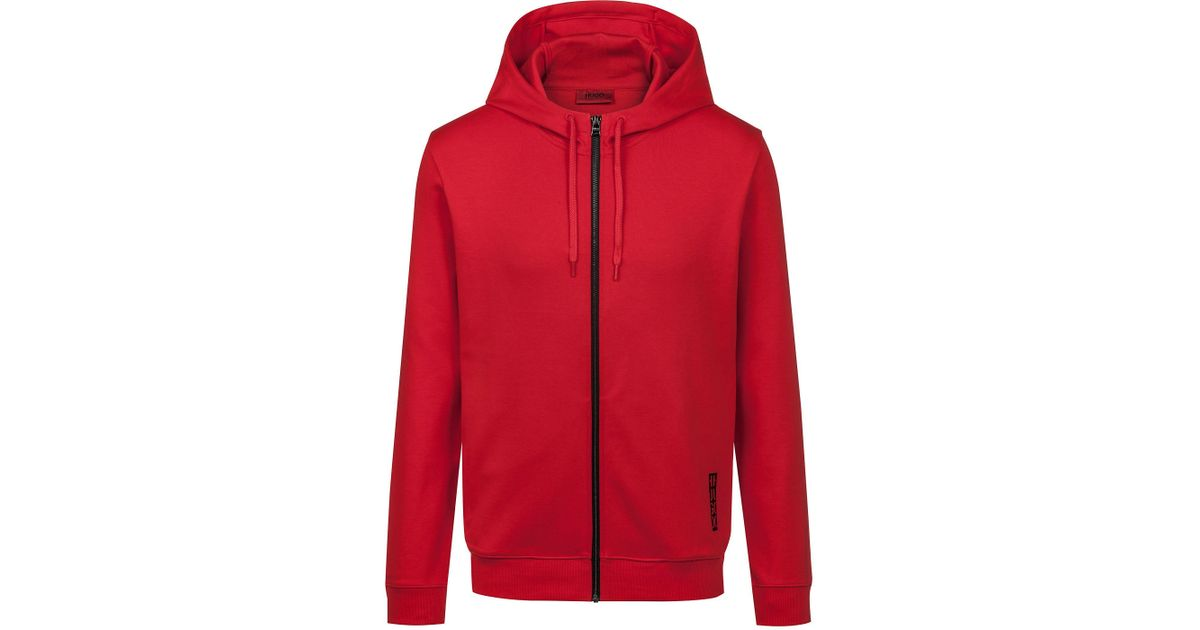 2ff8cfdd0 Lyst - HUGO Hooded Sweatshirt In Cotton With Large-scale Cropped Logo in  Red for Men