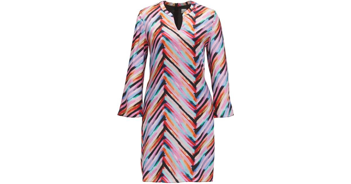 Multi-coloured tunic dress with flared sleeves BOSS Ulq6PY4Fx
