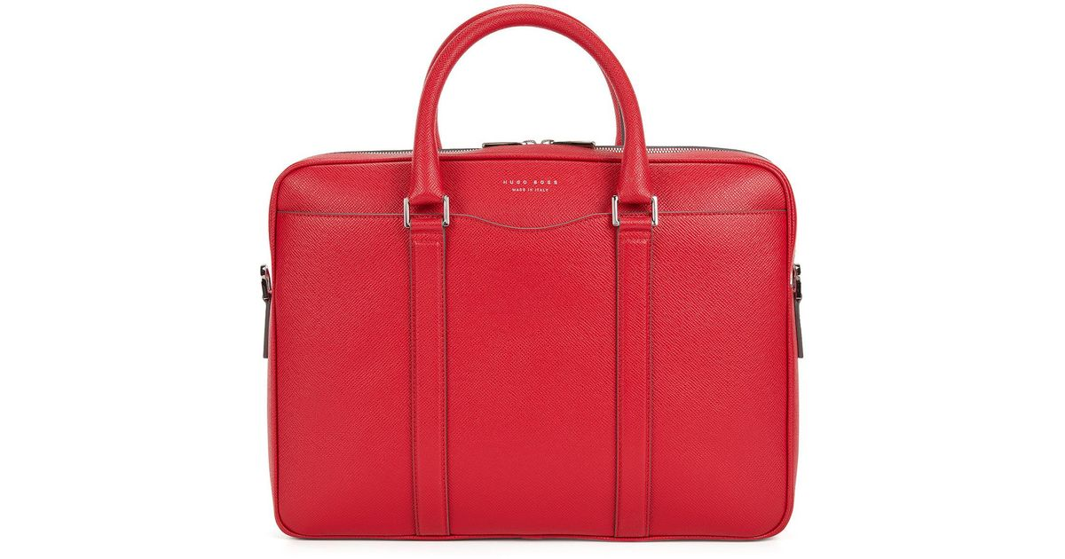 BOSS Signature Collection Bag In Palmellato Leather in Red for Men - Lyst f45b9682a5573
