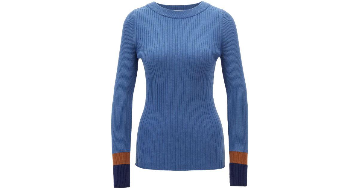2f8471d1 Lyst - BOSS Slim-fit Sweater In Virgin Wool With Colorblock Cuffs in Blue