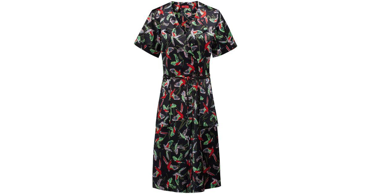 78f8f8869859 HUGO Kimono-inspired Wrap Dress With Bird Print in Black - Lyst