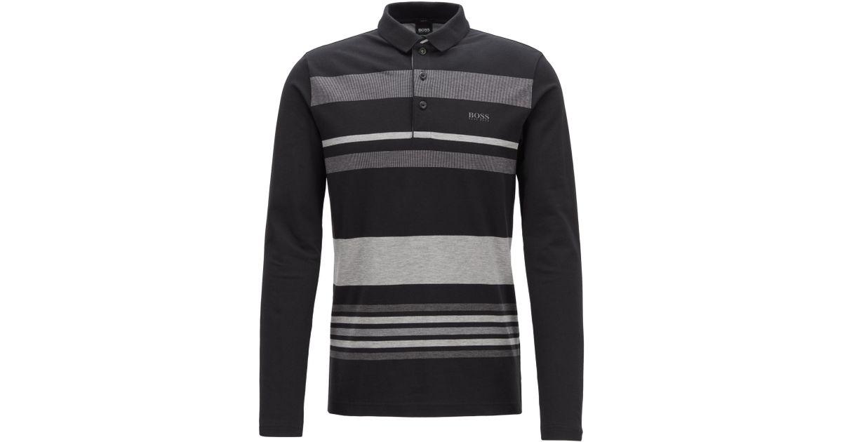 a7420d4ab BOSS Pleesy Long Sleeve Polo Shirt Black in Black for Men - Lyst