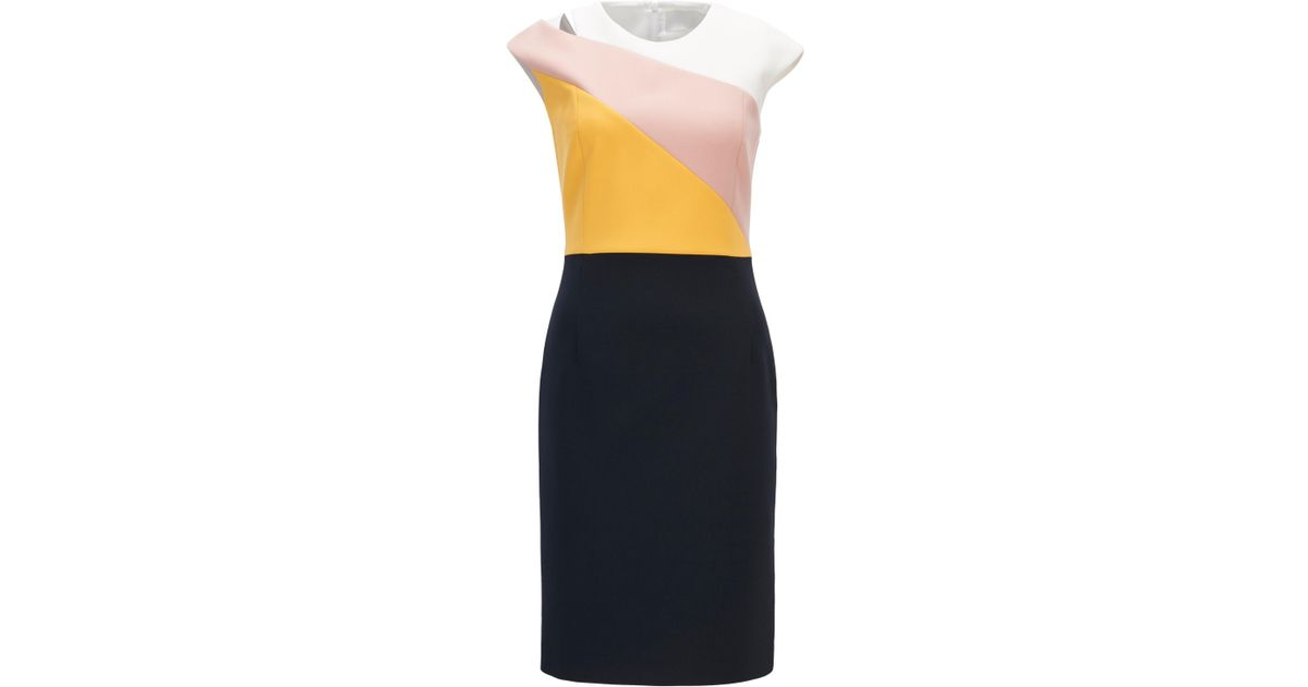 Colour-block shift dress in lightweight crepe BOSS hr3qq7T