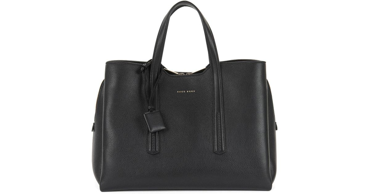 a59bd13898e BOSS Tote Bag In Grained Italian Leather in Black - Lyst