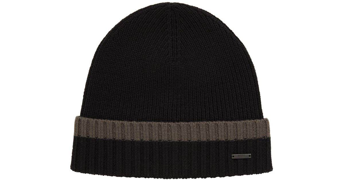 e6dc8d93337 BOSS Beanie Hat In Virgin Wool With Contrast Turn-up in Green for Men - Lyst
