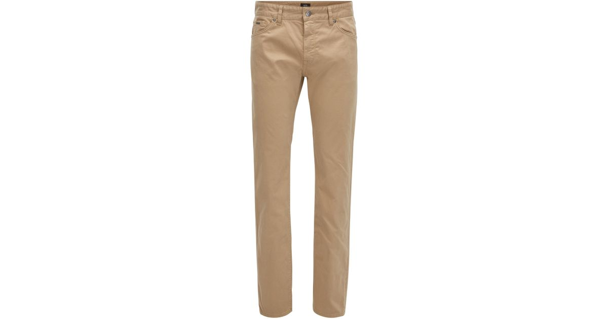 c255e83c93 Boss Regular-fit Jeans In Diamond-brushed Stretch Satin in Natural for Men  - Lyst