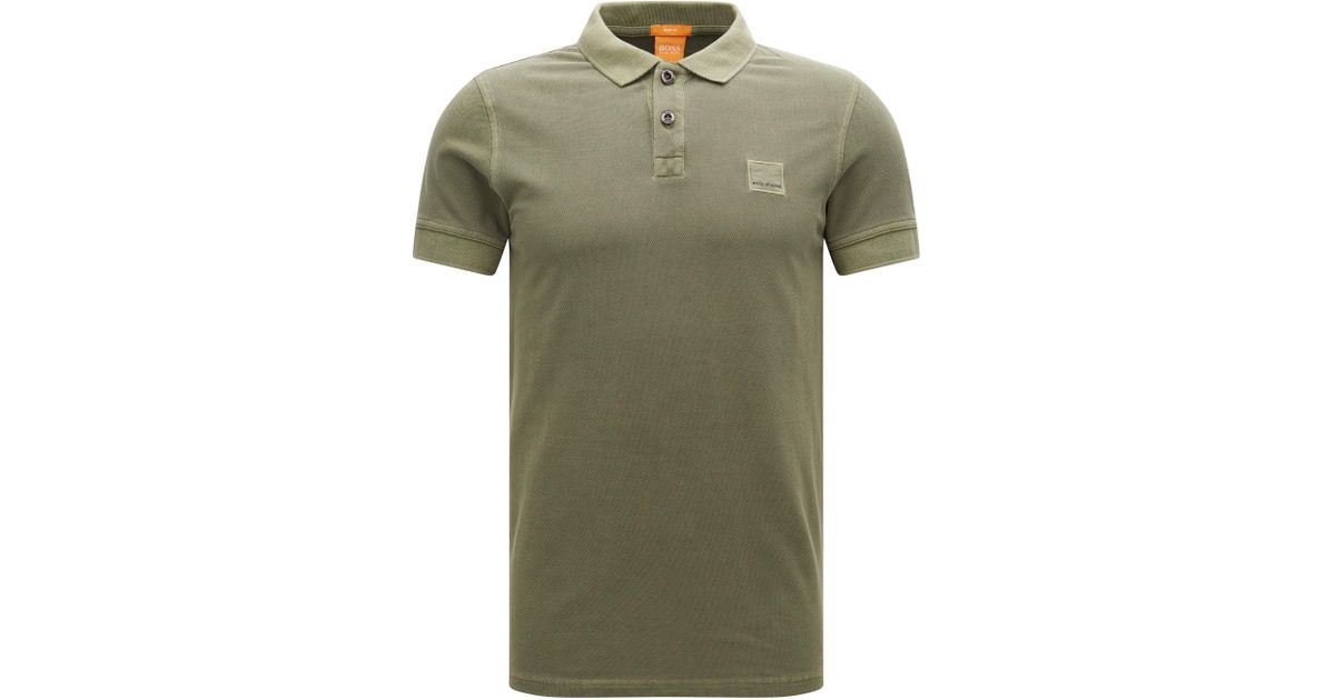 779976ad Lyst - BOSS Orange Cotton Polo Shirt, Slim Fit | Pascha in Green for Men