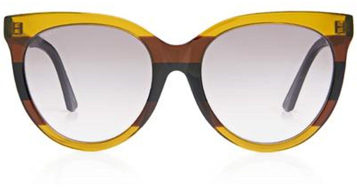 536399501 Lyst - Gucci Color-block Striped Cat-eye Sunglasses in Blue