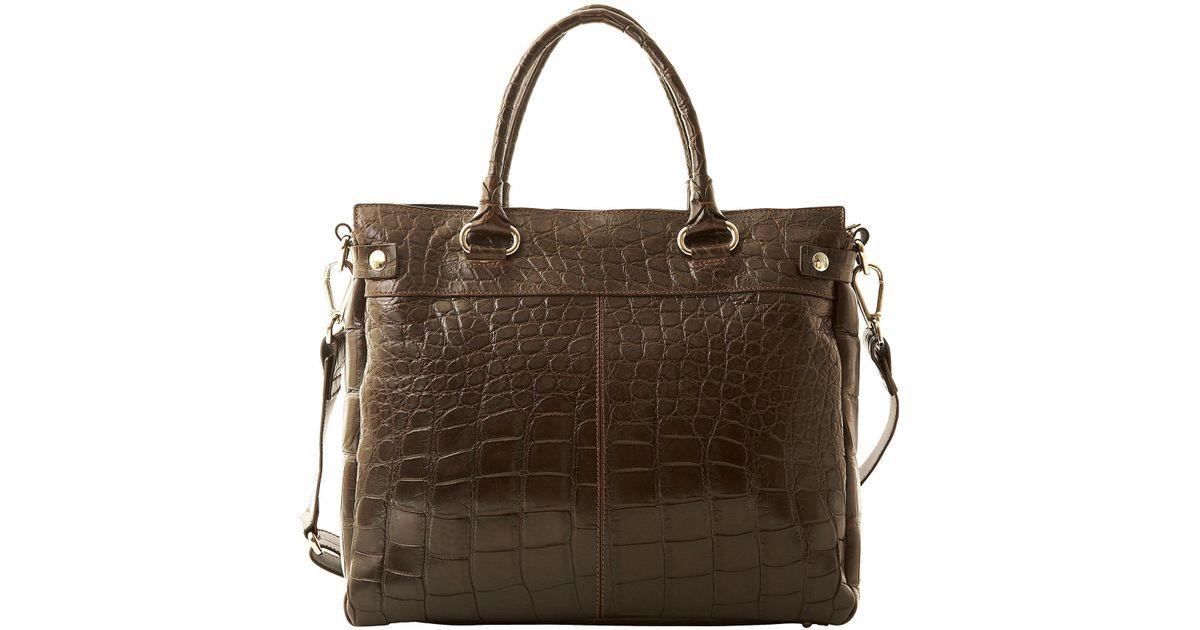 Lyst - Dooney   Bourke Real Crocodile Double Handle Shopper in Red d9d057c406683