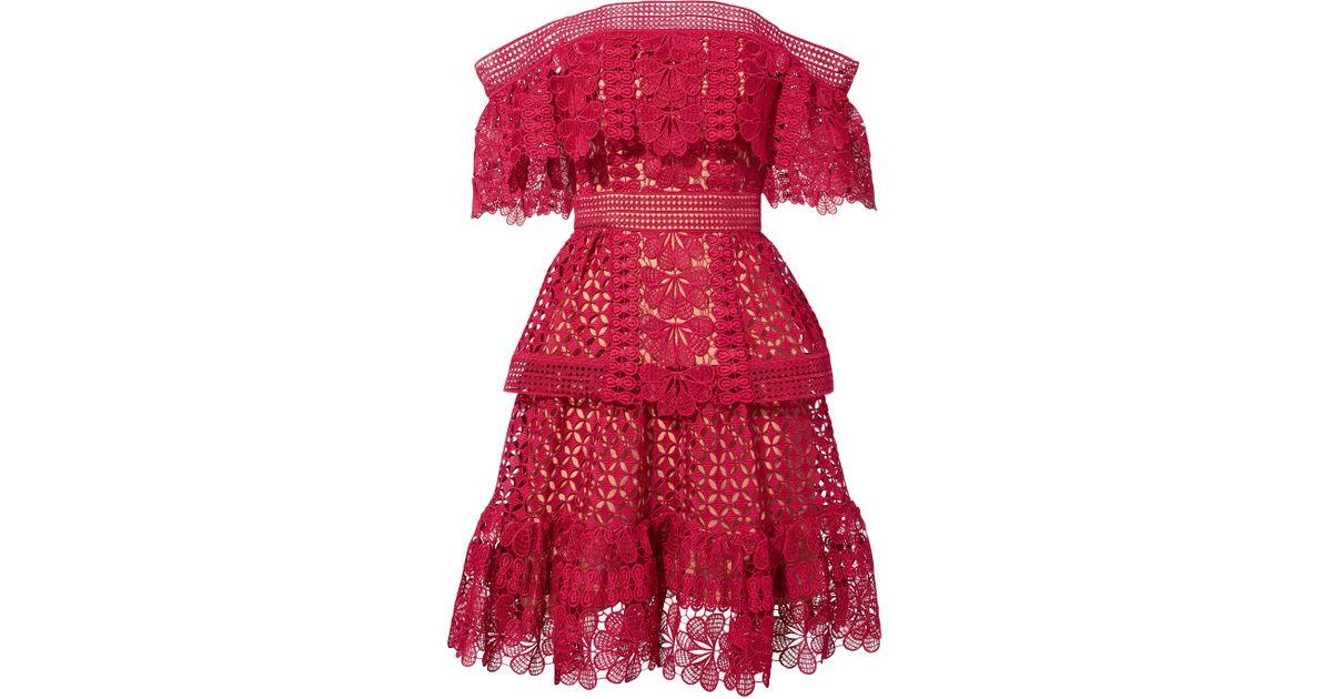 26e8f444116e Self-Portrait Off Shoulder Guipure Mini Dress in Red - Lyst