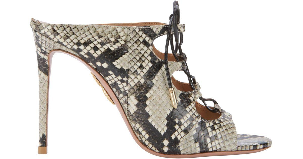 4668a9e5ca09 Lyst - Aquazzura Flirt Lace-up Snakeskin Mule Sandals