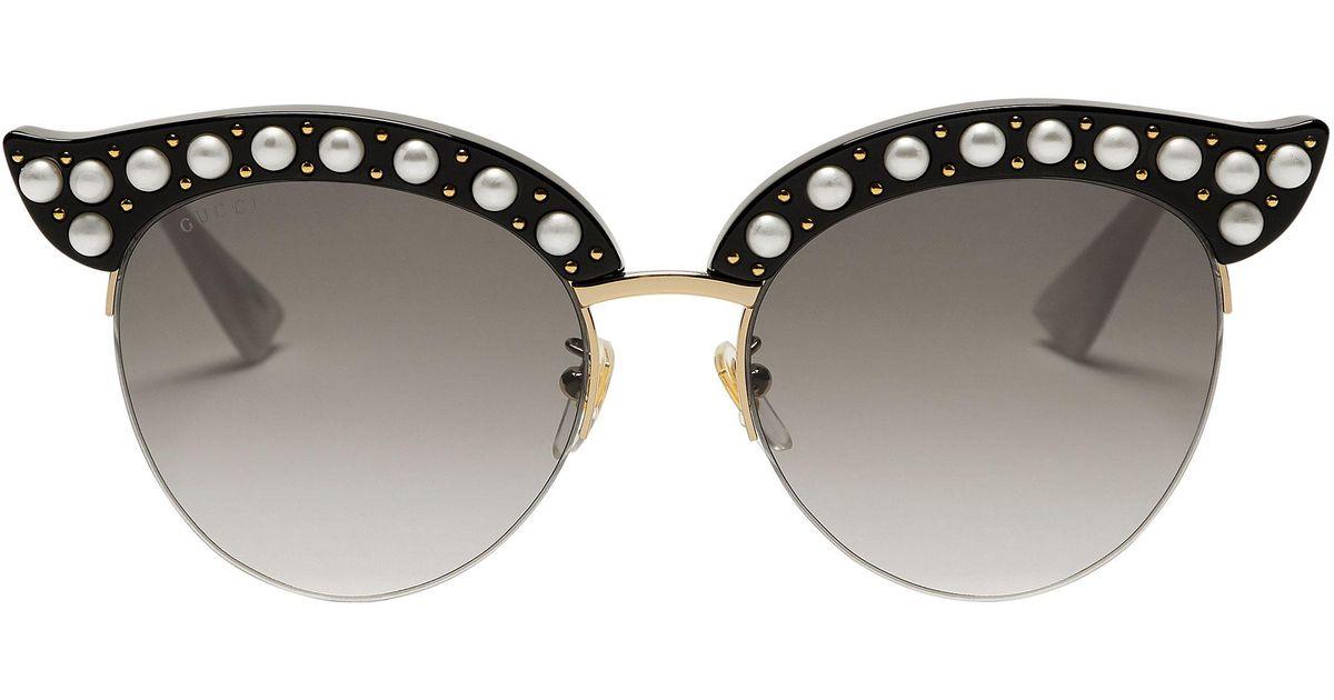 3192339e9db Gucci Faux Pearl-embellished Cat Eye Sunglasses in Metallic - Lyst
