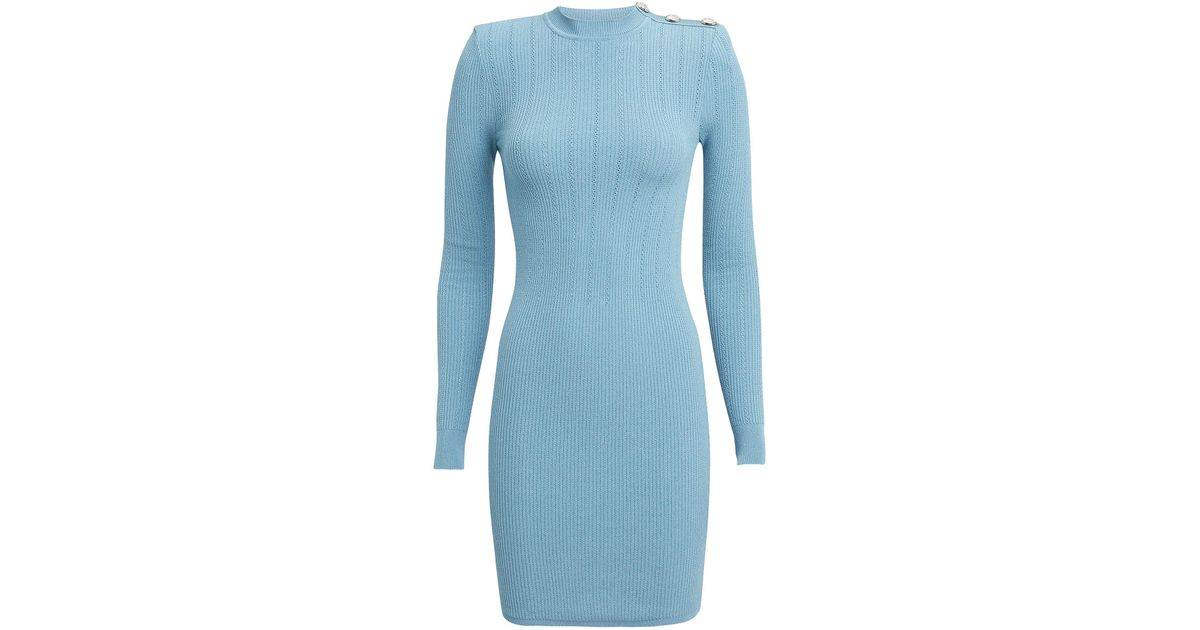 62b106ed Balmain Pointelle Light Blue Knit Mini Dress in Blue - Lyst