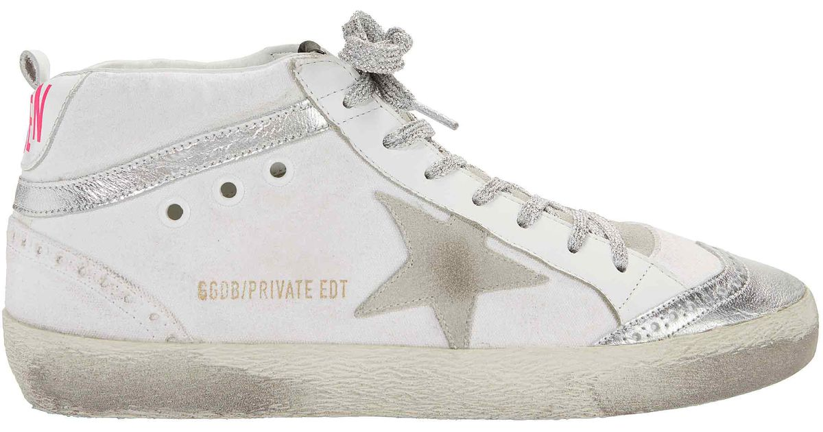 419181a5b3d01 Lyst - Golden Goose Deluxe Brand Mid Star Pink Back Leather Sneakers in  White