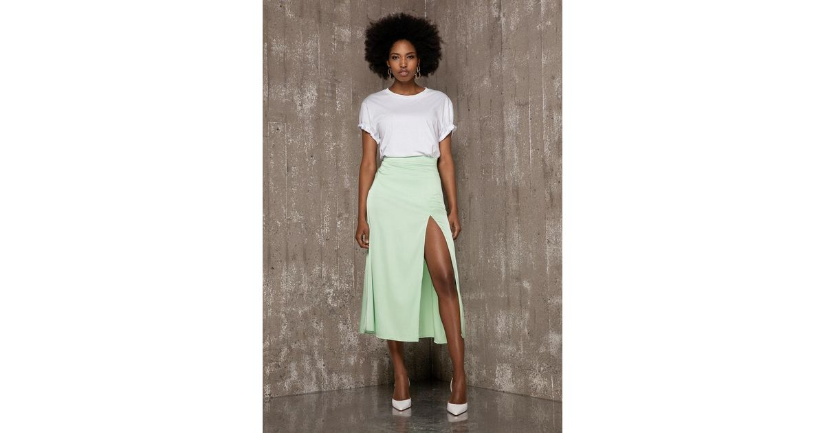 8cf514a3 Lyst - Ivyrevel Split Skirt Pastel Green in Green