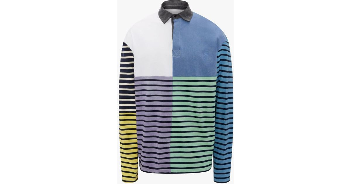 a7c16246 JW Anderson Patchwork Rugby Jersey Long Sleeve Polo Shirt in Blue for Men -  Lyst