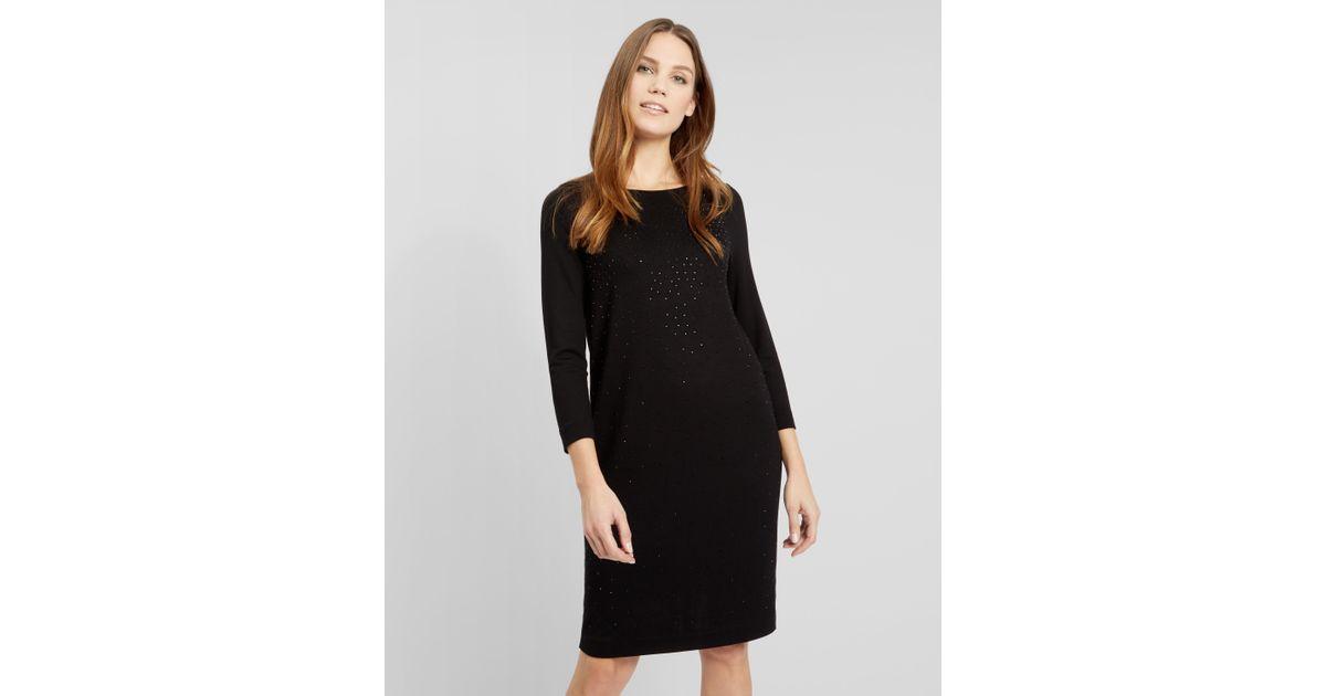 Lyst Jaeger Cascade Hotfix Jersey Dress In Black