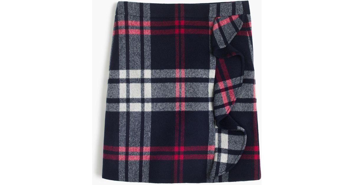 c564432b28 J.Crew Plaid Ruffle Mini Skirt In Double-serge Wool in Blue - Lyst