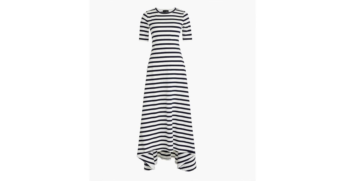 46137c614bd Lyst - J.Crew Petite Striped Knit Maxi Dress in Blue