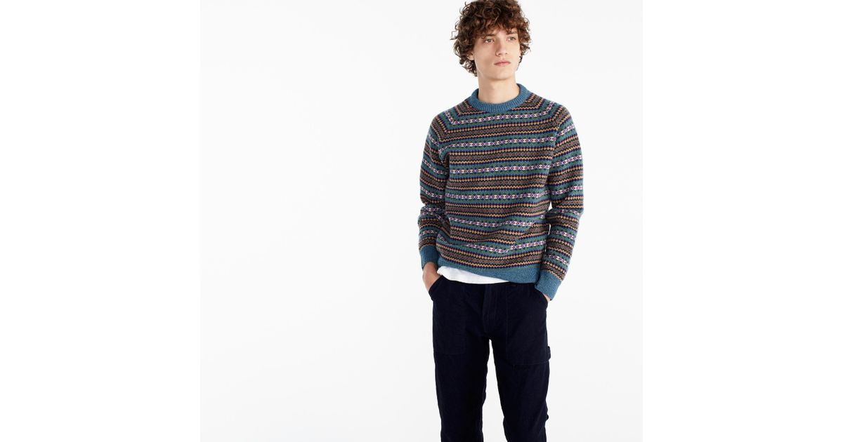 J.crew Lambswool Fair Isle Crewneck Sweater In Teal in Blue for ...