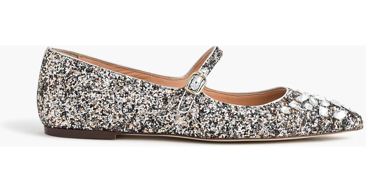 J.Crew Glitter Mary Jane Flats With Embellishments in Metallic - Lyst