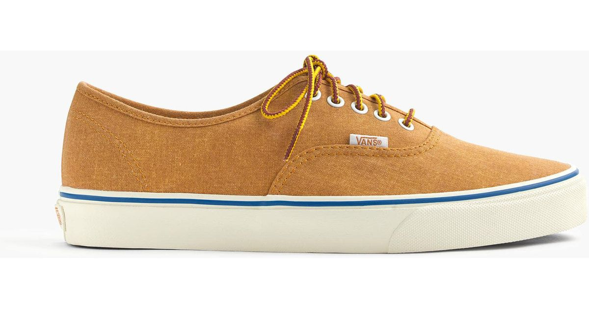 993381cf6ca890 Lyst - J.Crew Vans Washed Canvas Authentic Sneakers in Brown for Men
