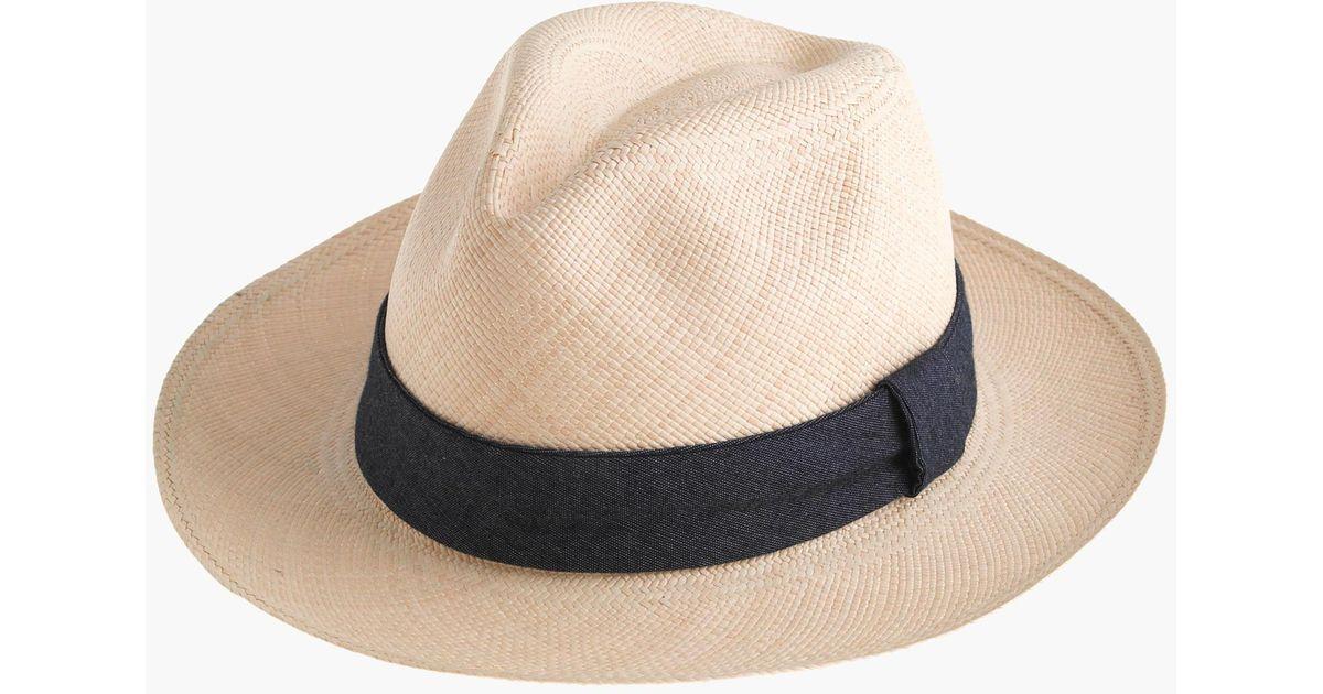 04b6639857de0 J.Crew Paulmann Panama Hat With Indigo Band in Natural for Men - Lyst