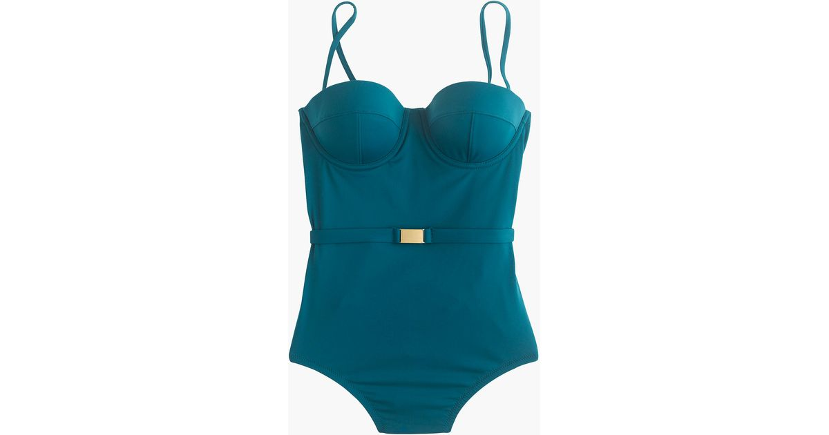 c9d5d064a5cf1 Lyst - J.Crew D-cup Belted Underwire One-piece Swimsuit In Italian Matte in  Blue